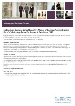 Nottingham Business School Executive Master of Business