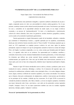 """""""PATRIMONIALIZACIÓN"""" DE LA GASTRONOMÍA - Inicio"""