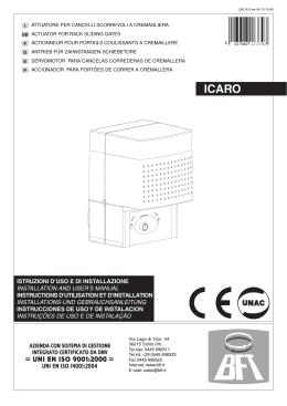 istruzioni d`uso e di installazione installation and user`s manual