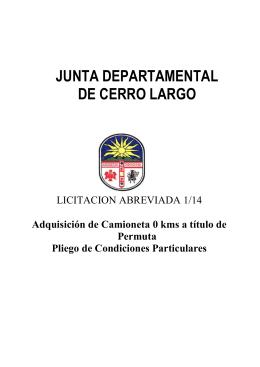 Licitacion Abreviada 001/14 - Junta Departamental de Cerro Largo