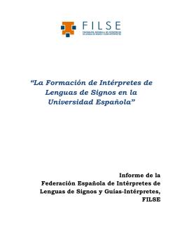 """""""La Formación de Intérpretes de Lenguas de Signos en la"""