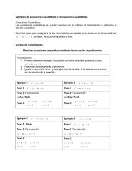 Ejemplos de Ecuaciones Cuadráticas e Inecuaciones Cuadráticas