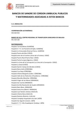 listados de las maternidades - Organización Nacional de Trasplantes