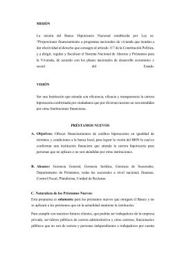 MISIÓN La misión del Banco Hipotecario Nacional establecida