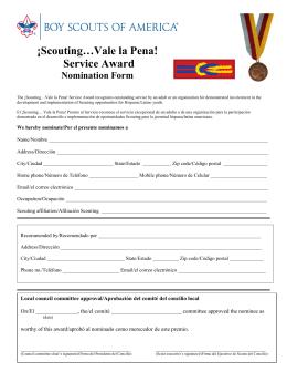 ¡Scouting…Vale la Pena! Service Award