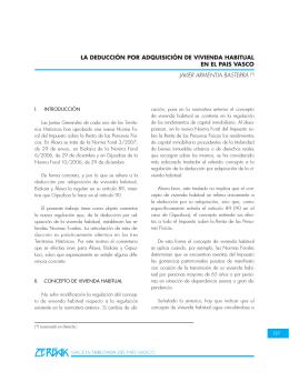 La deducción por adquisición de vivienda habitual en el País Vasco