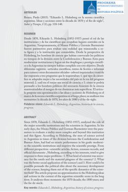 Eduardo L. Holmberg en la escena científica argentina. Ideas y