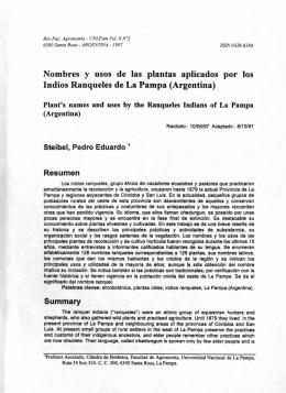 Nombres y usos de las plantas aplicados por los Indios Ranqueles