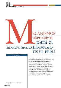 Mecanismos alternativos para el financiamiento hipotecario en el Perú