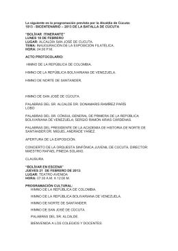 Programación bicentenario Batalla de Cúcuta