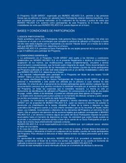 BASES Y CONDICIONES DE PARTICIPACIÓN