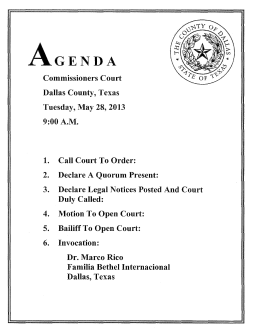 Commissioners Court Dallas County, Texas Tuesday, May 28, 2013