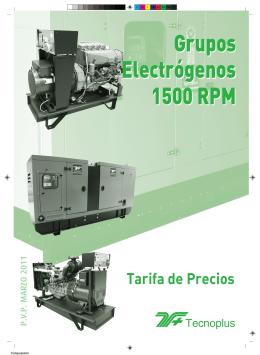 tarifa grup 1500 rpm.qxp - Tecnoplus, Grupos Electrógenos