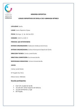 MEMORIA DEPORTIVA JUEGOS DEPORTIVOS DE SEVILLA 2015
