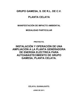 grupo gamesa, s. de rl de cv planta celaya instalación y operación
