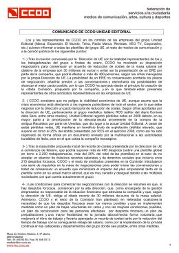 COMUNICADO DE CCOO UNIDAD EDITORIAL