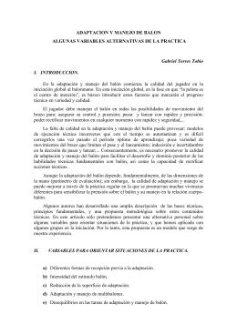 ADAPTACION Y MANEJO DE BALON ALGUNAS VARIABLES