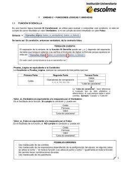 1 UNIDAD 2 – FUNCIONES LÒGICAS Y ANIDADAS 1.1