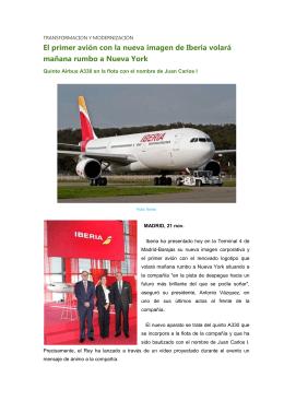 El primer avión con la nueva imagen de Iberia volará mañana