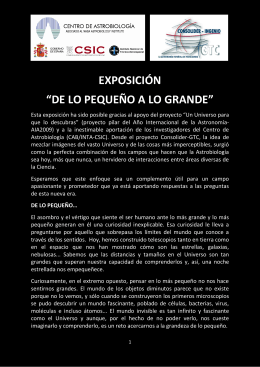"""EXPOSICIÓN """"DE LO PEQUEÑO A LO GRANDE"""""""