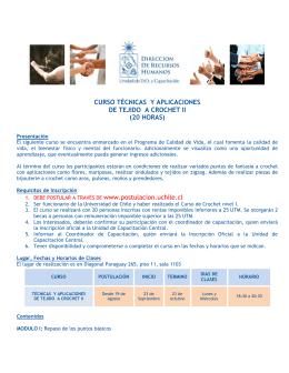CURSO TÉCNICAS Y APLICACIONES DE TEJIDO A CROCHET II