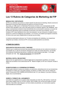 Los 13 Rubros de Categorías de Marketing del FIP