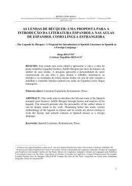 uma proposta para a introdução da literatura espanhola nas aulas