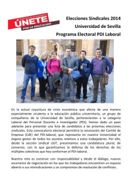 Programa PDI Laboral - FETE-UGT Universidad de Sevilla