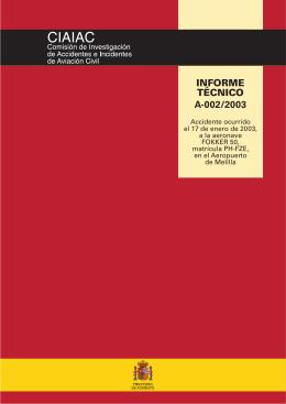 INFORME TÉCNICO A-002/2003