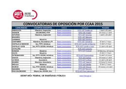 CONVOCATORIAS DE OPOSICIÓN POR CCAA 2015