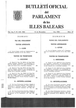 BUfLLETI OFICIAL PARLAMENT ILLES BALEARS