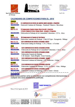 Cir 71-15 Calendario Campeonatos de España 2016
