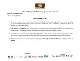 Listado de Empresas de Artesanías y Agroindustria Aprobadas