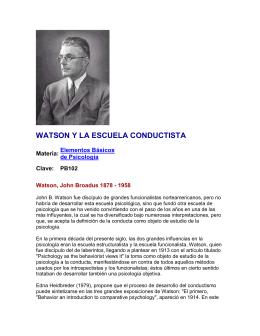 WATSON Y LA ESCUELA CONDUCTISTA
