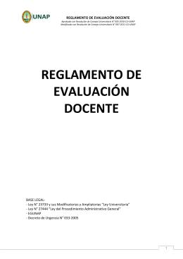 REGLAMENTO DE EVALUACIÓN DOCENTE