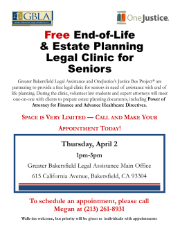 Free End-of-Life & Estate Planning Legal Clinic for Seniors