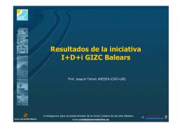Resultados de la iniciativa I+D+i GIZC Balears