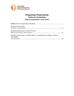 Programas Preescolares - Enciclopedia sobre el Desarrollo de la