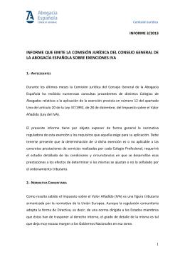 CJ INFORME Nº 3-2013 Exenciones IVA
