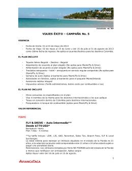 VIAJES ÉXITO – CAMPAÑA No. 5