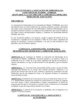 ESTATUTOS DE LA ASOCIACION DE FIBROMIALGIA DE