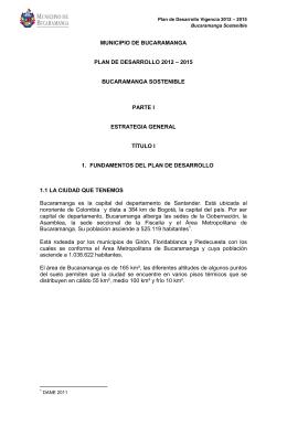 MUNICIPIO DE BUCARAMANGA PLAN DE DESARROLLO 2012