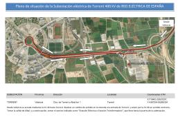 Plano de situación de la Subestación eléctrica de Torrent 400 kV de