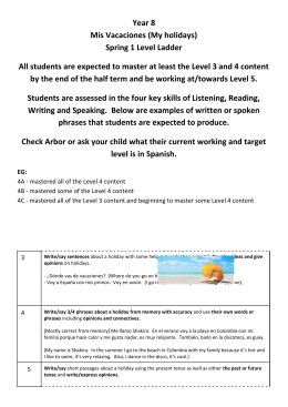 Year 8 Mis Vacaciones (My holidays) Spring 1 Level Ladder All