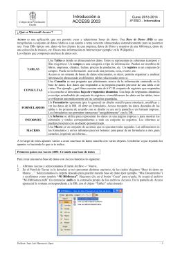 Tema 6: Bases de datos. Introducción a Access 2003.