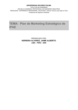 TEMA: Plan de Marketing Estratégico de IPAE