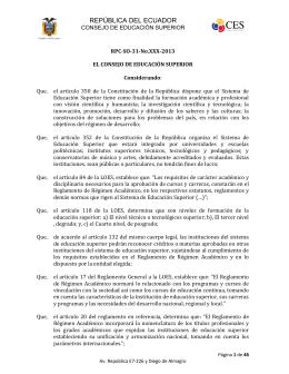 CONSEJO DE EDUCACION SUPERIOR