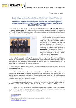 AUTOCARPE, CONCESIONARIO RENAULT Y DACIA PARA