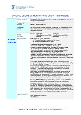 2º curso oficial de monitor/a de ocio y tiempo libre