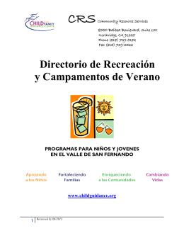 Directorio de Recreación y Campamentos de Verano